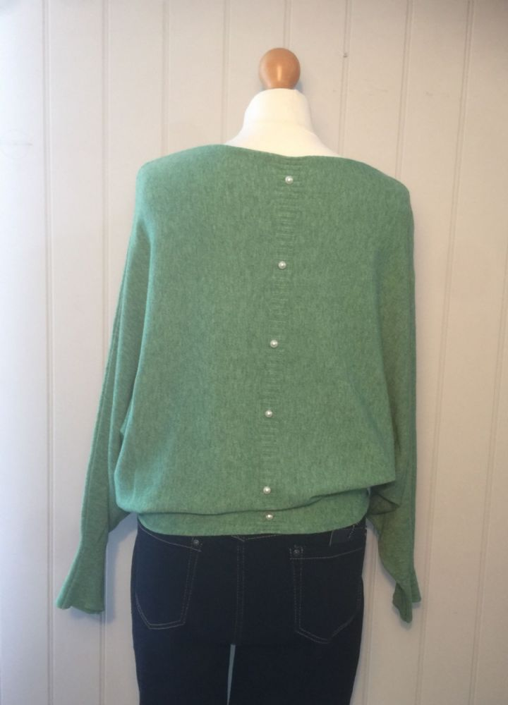 Pearl Back Batwing Jumper - Green